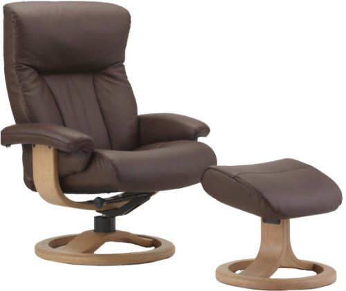 Scandinavian Fjords Scandic Leather Recliner and Ottoman - Norwegian Ergonomic Scandinavian Reclining Chair in Cacao Soft Line Genuine Leather - Large Light Oak Wood R Frame ** Learn more by visiting the image link.