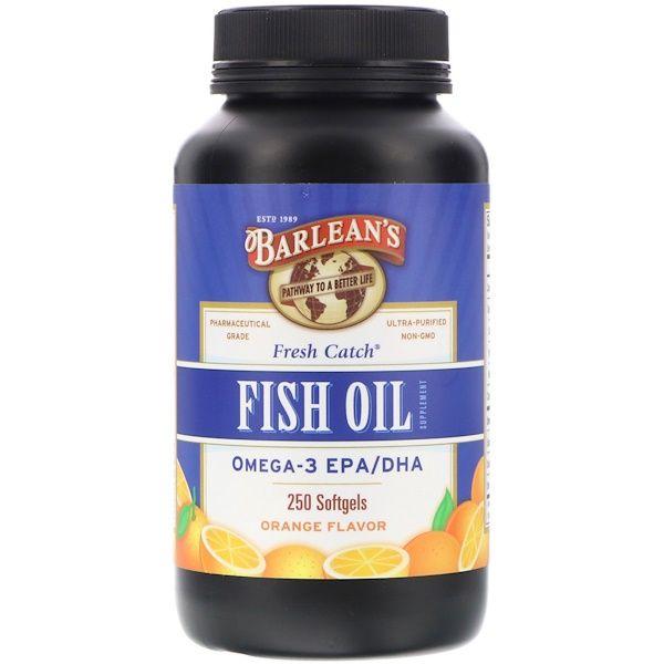Barlean S Fresh Catch Fish Oil Supplement Omega 3 Epa Dha Orange Flavor 250 Softgels Fish Oils Supplements Fish Oil Fresh Catch