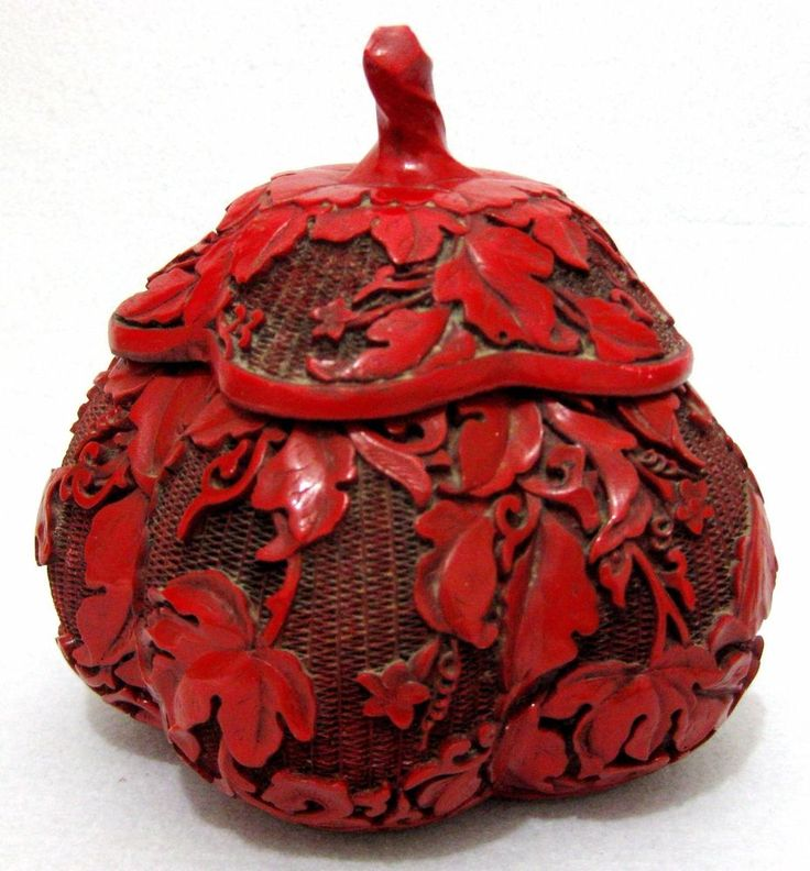 ANTIQUE CHINA CHINESE CINNABAR LACQUER RED BOX CARVED