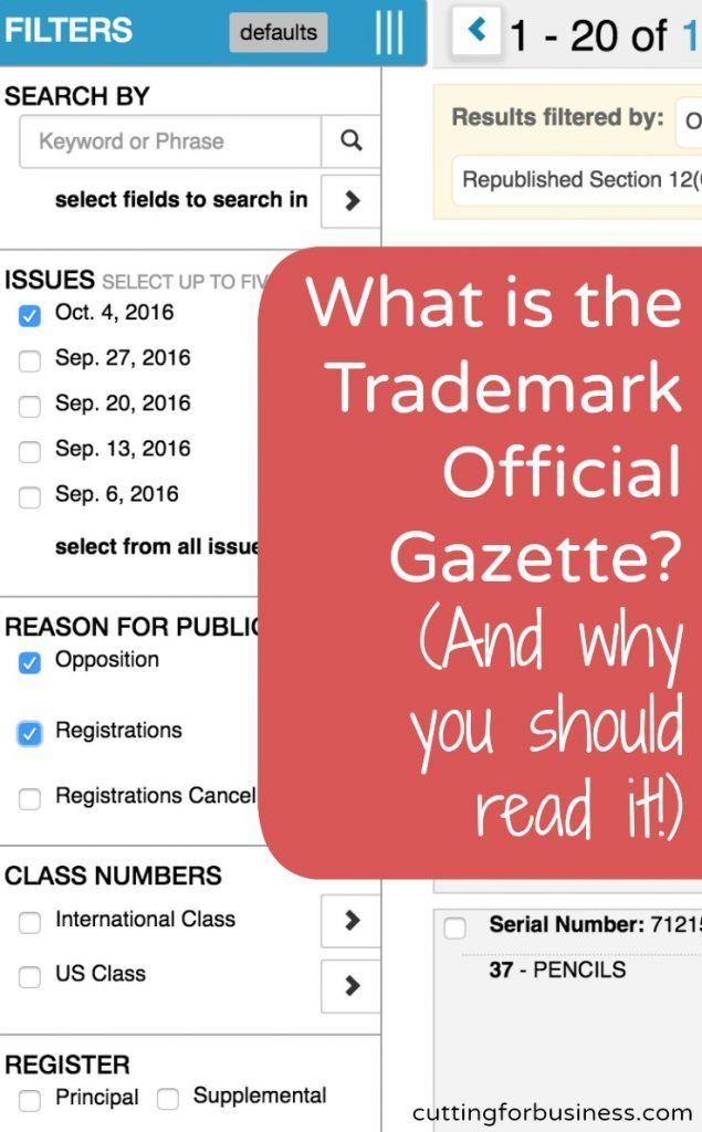 What is the Trademark Official Gazette? Why you should read it, and where to oppose a trademark registration. Perfect for Silhouette Cameo or Cricut Explore crafters. By cuttingforbusiness.com.