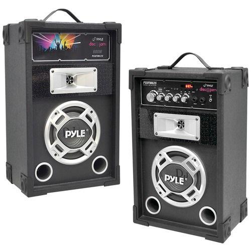 Pyle Pro Dual 600-watt Disco Jam Powered 2-way Pa Speaker System With Auxiliary Jack