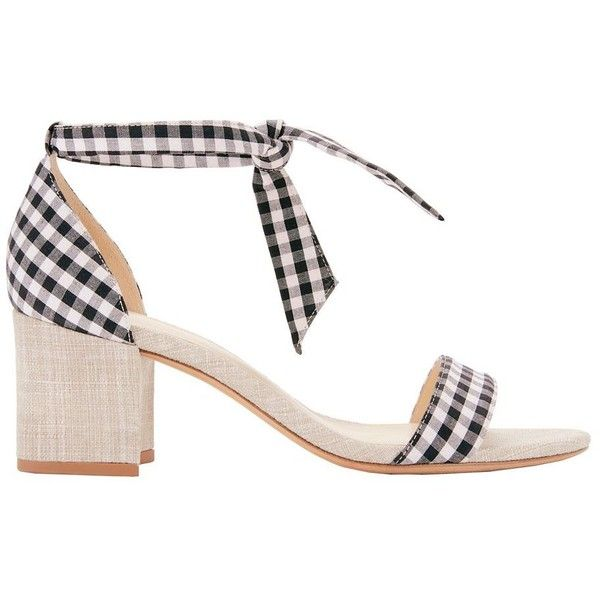 Alexandre Birman Women's Clarita Gingham Sandals (£385) ❤ liked on Polyvore featuring shoes, sandals, black and white shoes, mid-heel sandals, black and white sandals, mid heel sandals and black white sandals