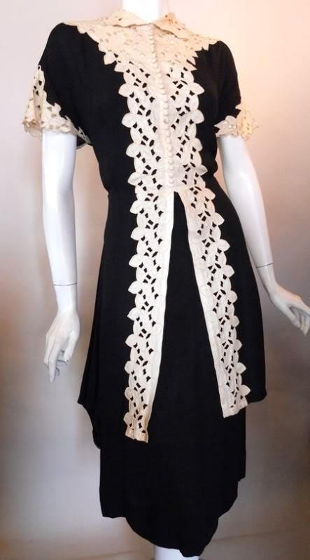 1930s lace trimmed dress w/ F.O.G.A. label, Dorothea's Closet Vintage archives