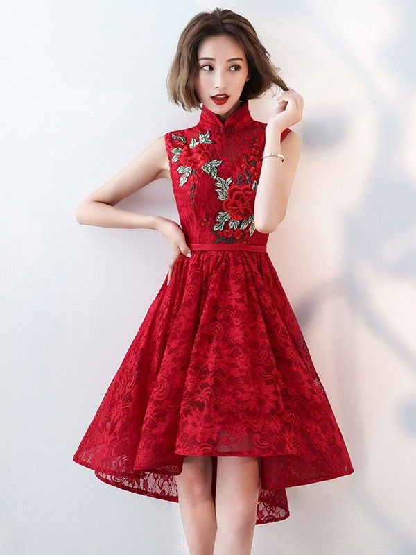 b905b2e32 Red Lace Embroidered Qipao / Cheongsam Evening Dress with Dip Hem ...
