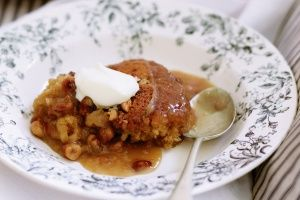 Warm cashew and caramel self-saucing pudding