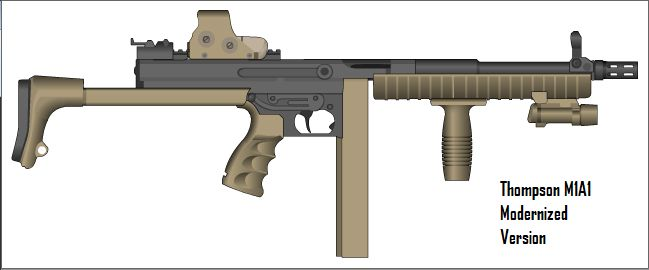 M1A1 Thompson Modernized Features EoTech 551, MP5 Adjustable Stock, Grip, Flashlight, M4 Rail Specs: Caliber - .45 ACP Designed - 1917-1920 Manufacturer - Auto-Ordnance Company (originally) &...