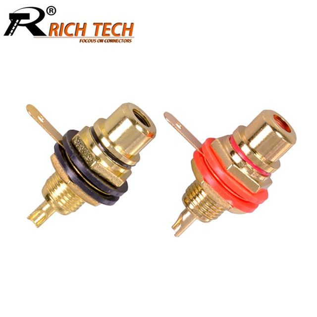 10pcs Lot Rca Connector Gold Plated Female Jack Socket Solder Wire Connector Rca Panel Mount Chassis Wholesales Revie Rca Connector Wire Connectors Solder Wire