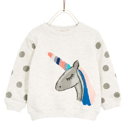 Grey marl sweatshirt from Zara.  Baby and toddler girl clothes. 3 month - 4 year sizes.