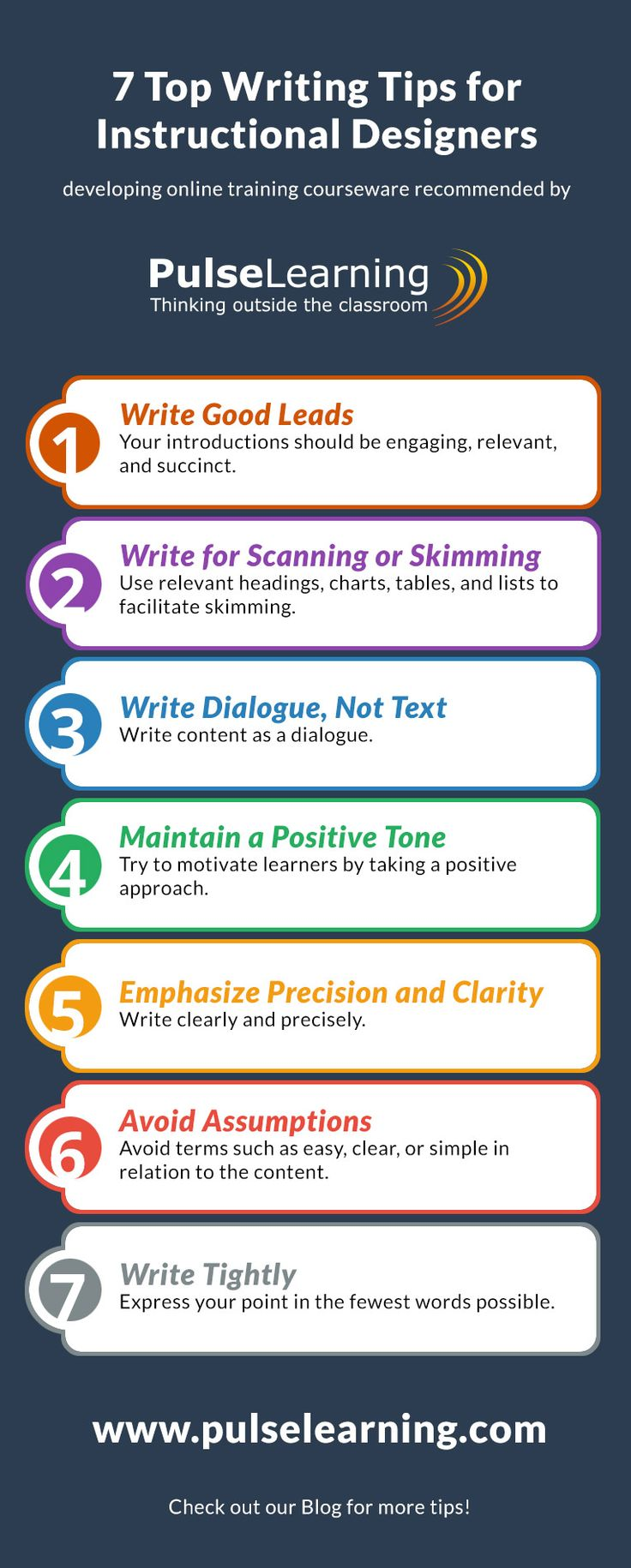 "I am not the best when it comes to keeping things simple.  Sometimes I ""explain"" way too much.  This info graphic is a great reminder of how to keep content simple but with good instructional design."