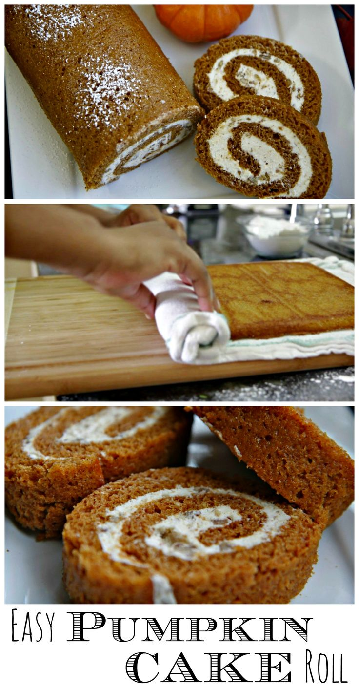 Easy Pumpkin Cake Roll. You can't go wrong with a pumpkin cake roll on the dessert table for the holidays. #Pumpkincake #holidays
