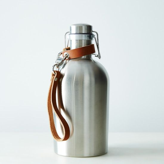 Stainless Steel Growler with Leather Handle: It also works great for hikes and walks. #food52