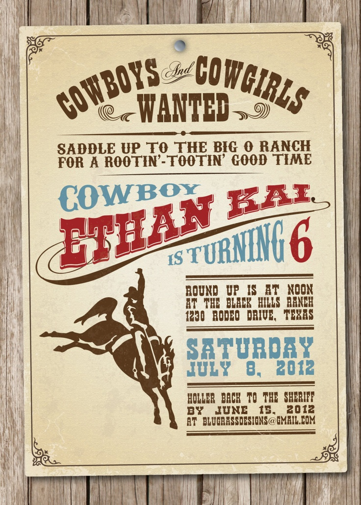cowboy invitation wording and design ideas