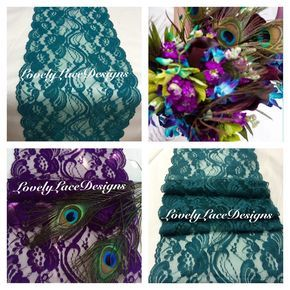 """Peacock Weddings /Purple/Teal/Green Lace Table Runners,3ft-10ft x 7"""" Wide/Weddings/Wedding Decor/Lace Overlay/Tabletop decoration by LovelyLaceDesigns on Etsy"""
