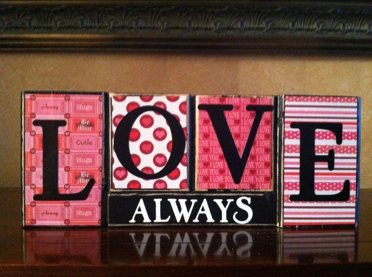 Wood LOVE ALWAYS block set- Wood love valentines day Sign - Seasonal Winter Home Decor fireplace mantel- bookshelf decor. $20.00, via Etsy.