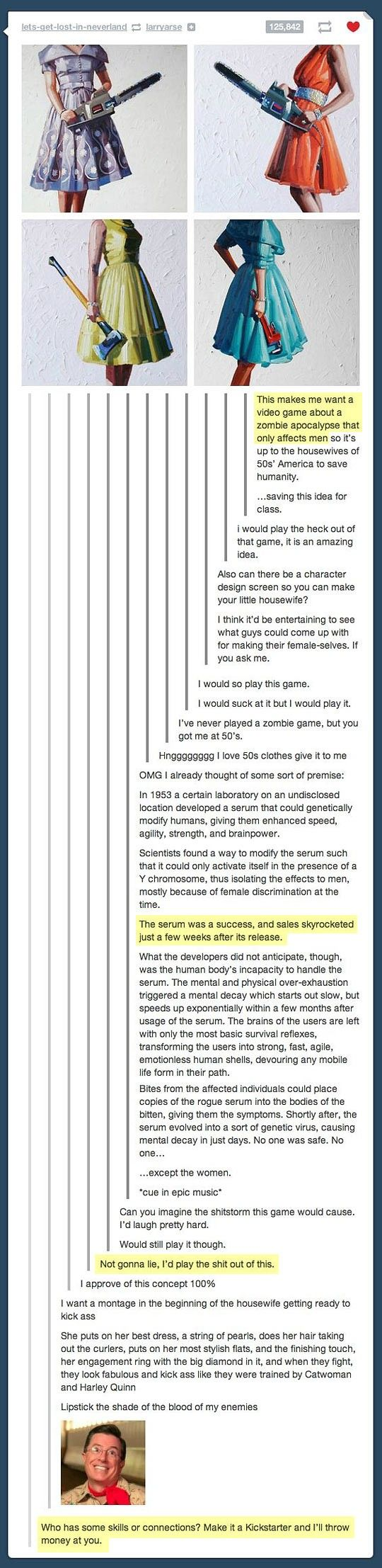 I would totally play this game…I HATE video games and zombies, but I'm behind this idea 100000000%.