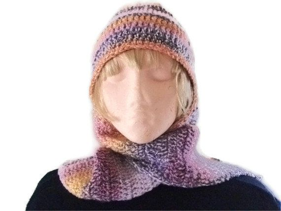 SALE Crochet Hat & Scarf All in One Combo - Sunset Shades. Accessories, Hat, Scarf. Ladies, Vegan,