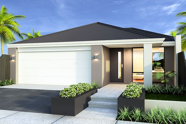 'The Challenger' elevation. 10m frontage. || View Floorplan on http://www.pinterest.com/smarthomesau/smart-home-floorplans/ #house #facade #elevation #home #smarthomesforliving