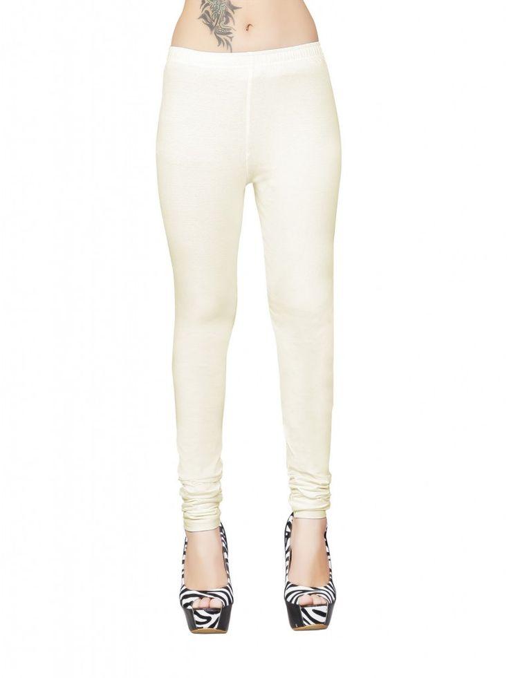 Cream Cotton Lycra Biopolish Full Length Leggings