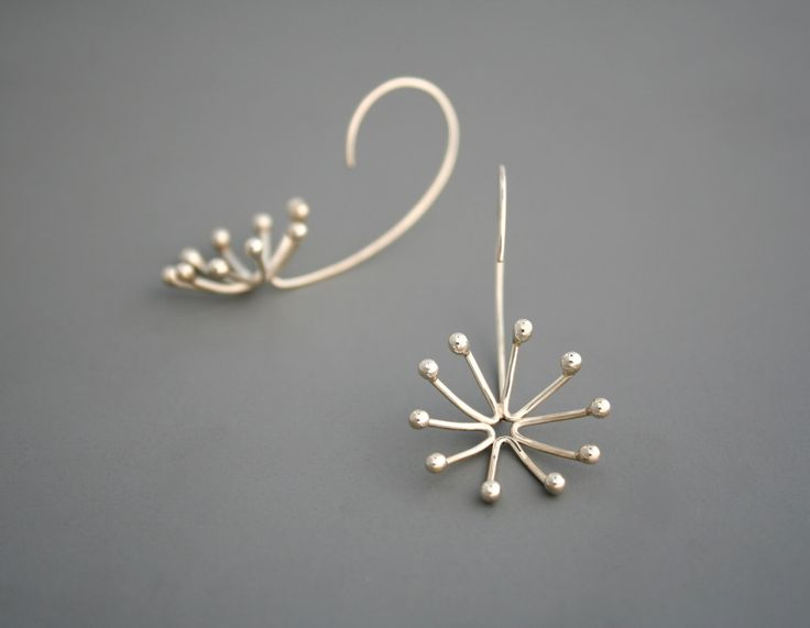 These unique earrings are made from sterling silver. I create it by hand starting with straight wire which I shape and solder into a little three dimensional form like a flower bursting open. They have a bright shiny finish. Unique thread through the back of earlobe design. Very light weight and measures a little under 2 long.