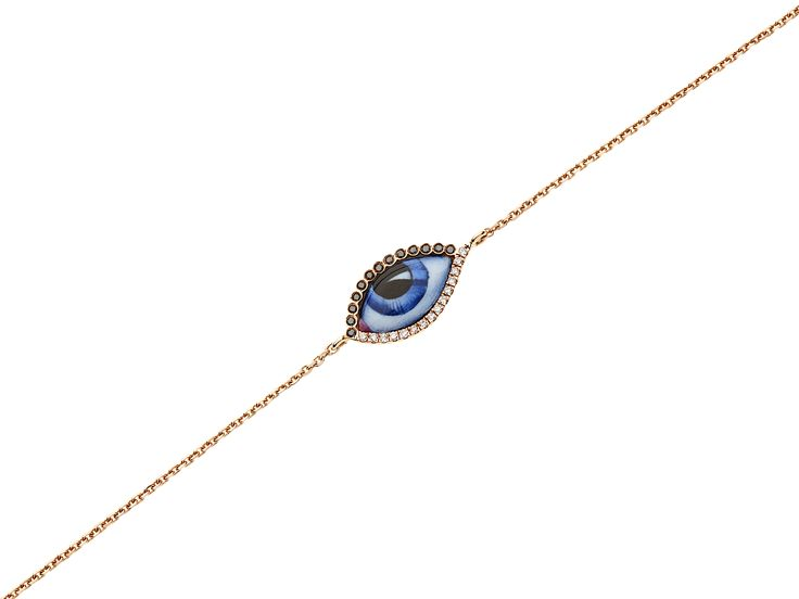 14K pink gold bracelet with blue enamelled eye (small) with black & white Diamonds www.lito-jewelry.com
