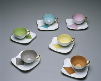 2005/66/33 Teacups and saucers (set of 6), porcelain (bone china) , white with coloured and gilt details, European blanks decorated in Melbourne for Westminster, 1950s - Powerhouse Museum Collection