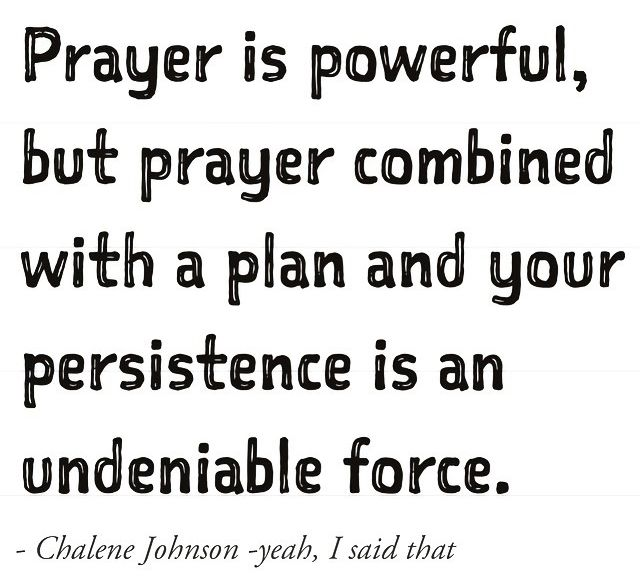 Prayer is powerful, but prayer combined with a plan and your persistence is an undeniable force. —Chalene Johnson