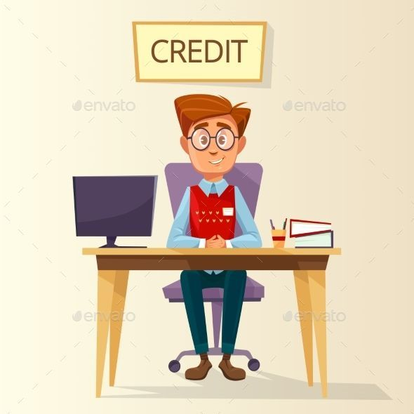 Vector Cartoon Manager In Credit Office Workplace Office Cartoon Cartoon Finance Infographic