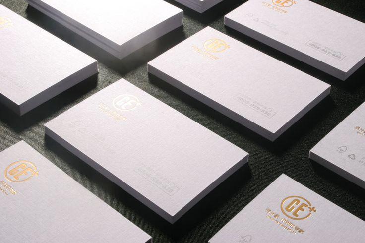 High end 350grm kertas seni Linen putih kartu nama dengan hot stamping foil pada satu sisi