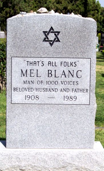 """""""That's All Folks""""  Mel Blanc  1908 - 1989    Hollywood Forever Cemetery"""