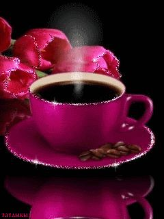 Good Morning Hot Pink Coffee and Tulips