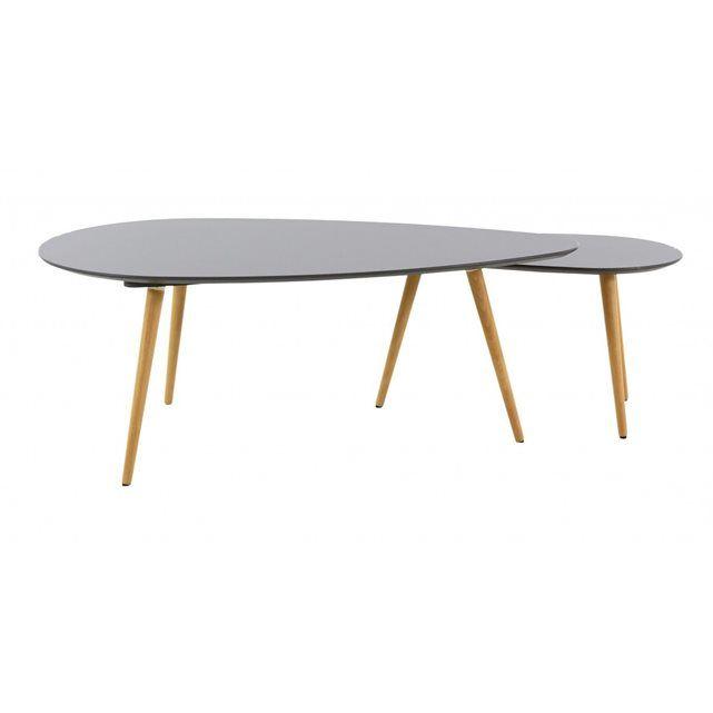 Aspect : Coloris : NoirMatériau principal : MDFMatériaux secondaires : ChêneDimensions : Hauteur (en cm) : 45Hauteur du petit modèle (en cm) : 39Longueur (en cm) : 116Longueur du petit modèle (en cm) : 75Profondeur (en cm) : 66Profondeur du petit modèle (en cm) : 43  Osez l'originalité avec les 2 tables basses gigognes Pixy signées Jardin déco et créez un décor hors du commun dans votre séjour ou dans votre salon. Composé d'une petite et d'une grande table basse en bois et MDF de forme…