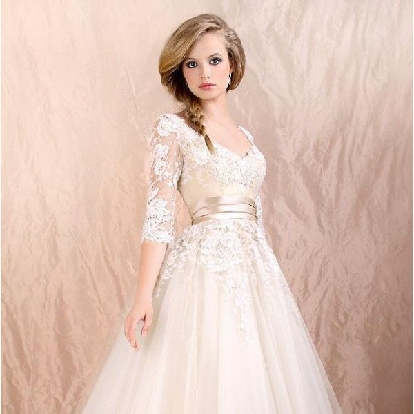 A line sweetheart tea length lace applique tulle short for Tea length lace wedding dress with sleeves