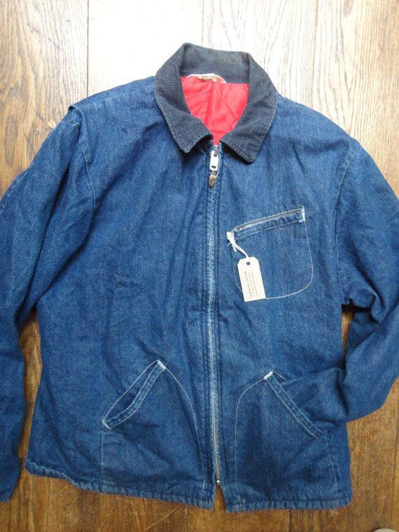 """Урожай 1970-е 1980-е годы Key Imperial джинсовой работа амбар муторно куртка вельвет воротник красный стеганые спецодежда подкладка 48 """"грудь индиго"""