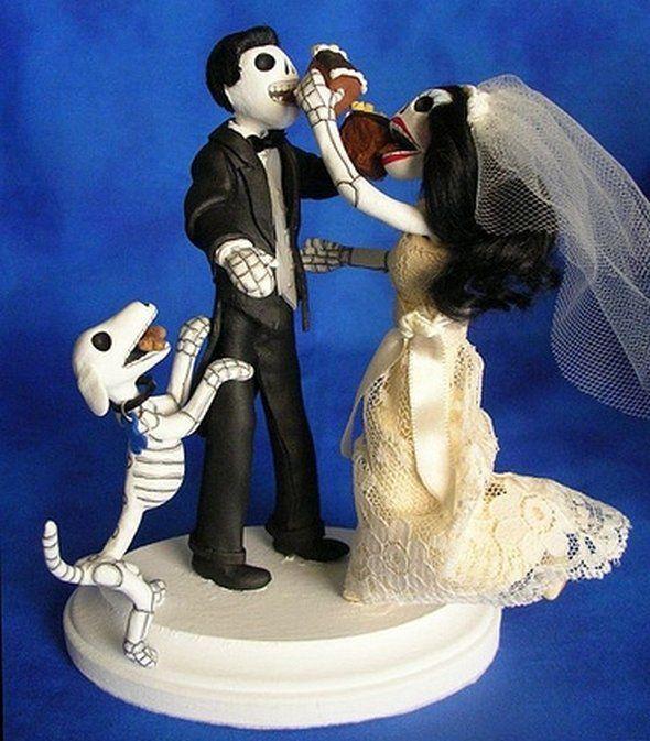 goth wedding cake toppers, Tortenfiguren für Gothic Hochzeit