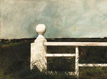 Andrew Wyeth (b. 1917)  Wyeth, Andrew  King Post  signed 'Andrew Wyeth' (lower right)  watercolor on paper  21 x 29 in. (55.3 x 73.7 cm.)