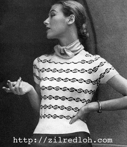 The Vintage Pattern Files: 1950's Knitting - Silhouette Jumper