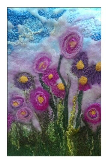 Wet felting and needle felting and machine embroidery.