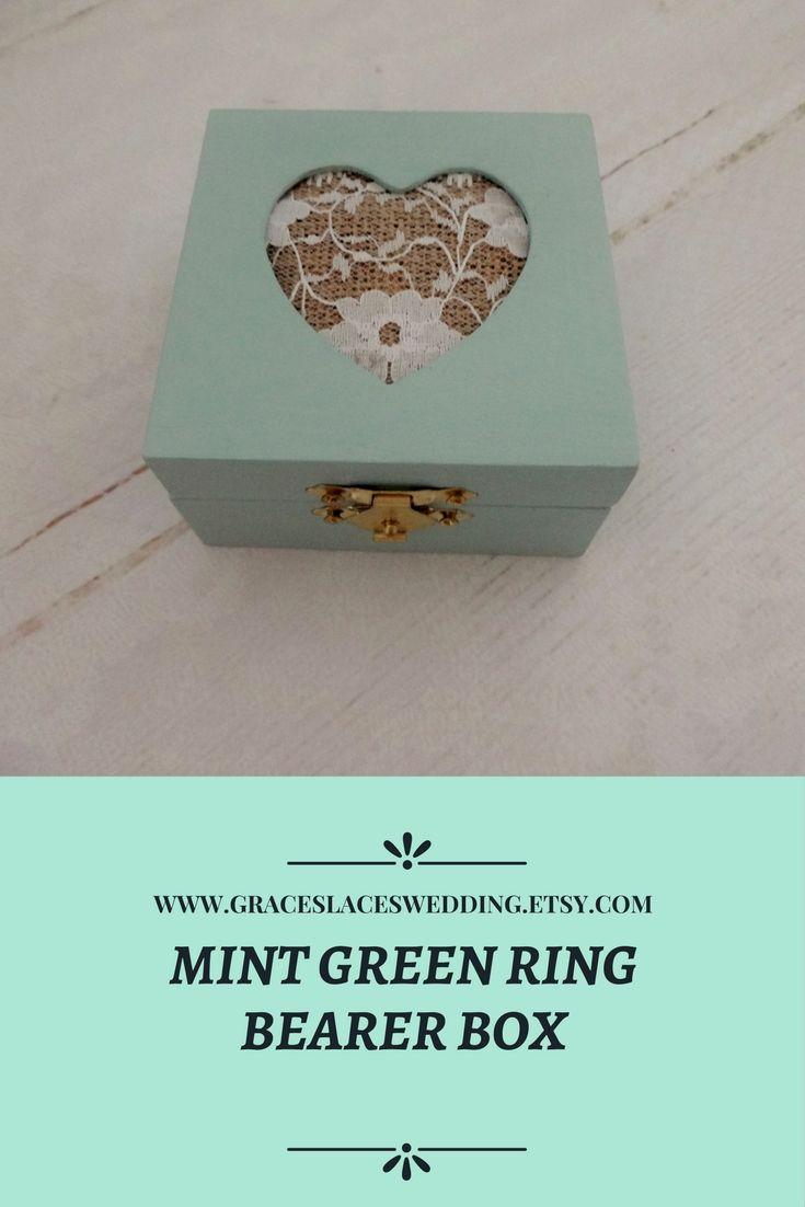 Mint green wedding ring box #mintgreenwedding #weddingringbox #proposalringbox #engagementringbox #rusticwedding