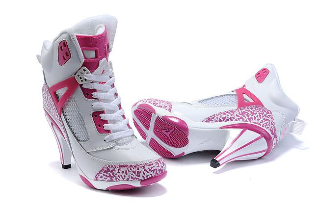 Nike New Women Air Jordan 5 High Heels Shoes White Pink - Nike Heels Nike High Heels Nike Shoes