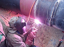 Pipe welding - pink arc!