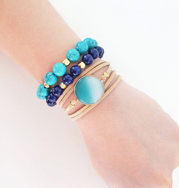 turquoise gemstone bracelet brown leather bracelet greek