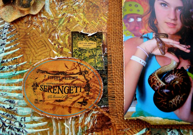 Bellaideascrapology: SERENGETI - Scrapbooking Layout with new 7gypsies collection - Mixed Media Scrapbooking - #burlap #7gypsies #canvascorp #tatteredangels
