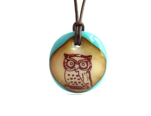 Owl Necklace - handmade in glass by l e i l a c o o l s