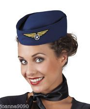 LADIES AIR HOSTESS STEWARDESS HEN NIGHT PILOT FANCY DRESS COSTUME HAT NAVY BLUE