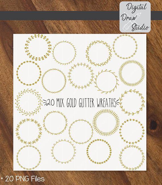 20 Gold Glitter Wreaths Clip Art  Round Hand Drawn Frame