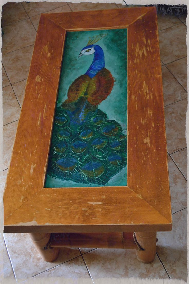Hand painted table - peackok