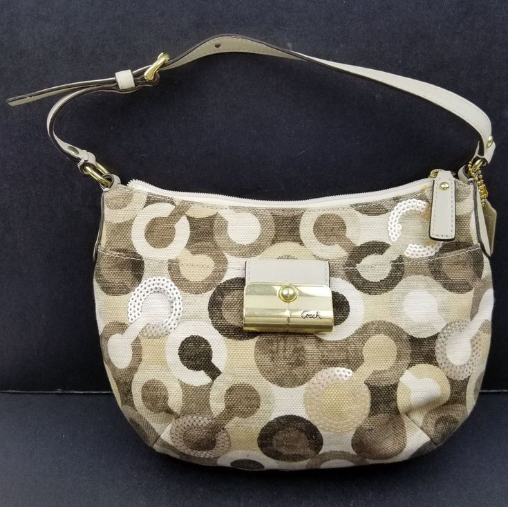 Coach Purse 43918 Kristin Graphic Optic Art Signature Hobo Hand Bag Sequin Biege Ladies Womens Tan Brown White Fashion #Coach #HandbagHobo