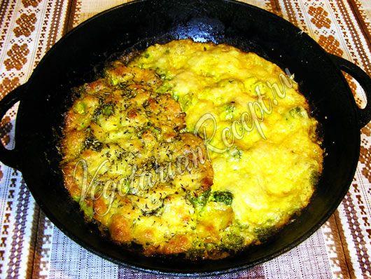 Капуста брокколи в сливочном соусе, запеченная в духовке