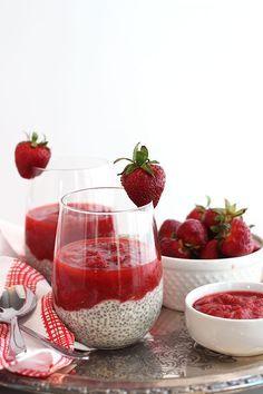 Strawberry Rhubarb Chia Pudding | Dietitian Debbie Dishes