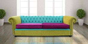 Buy apple green leather Chesterfield sofa UK   4 seater